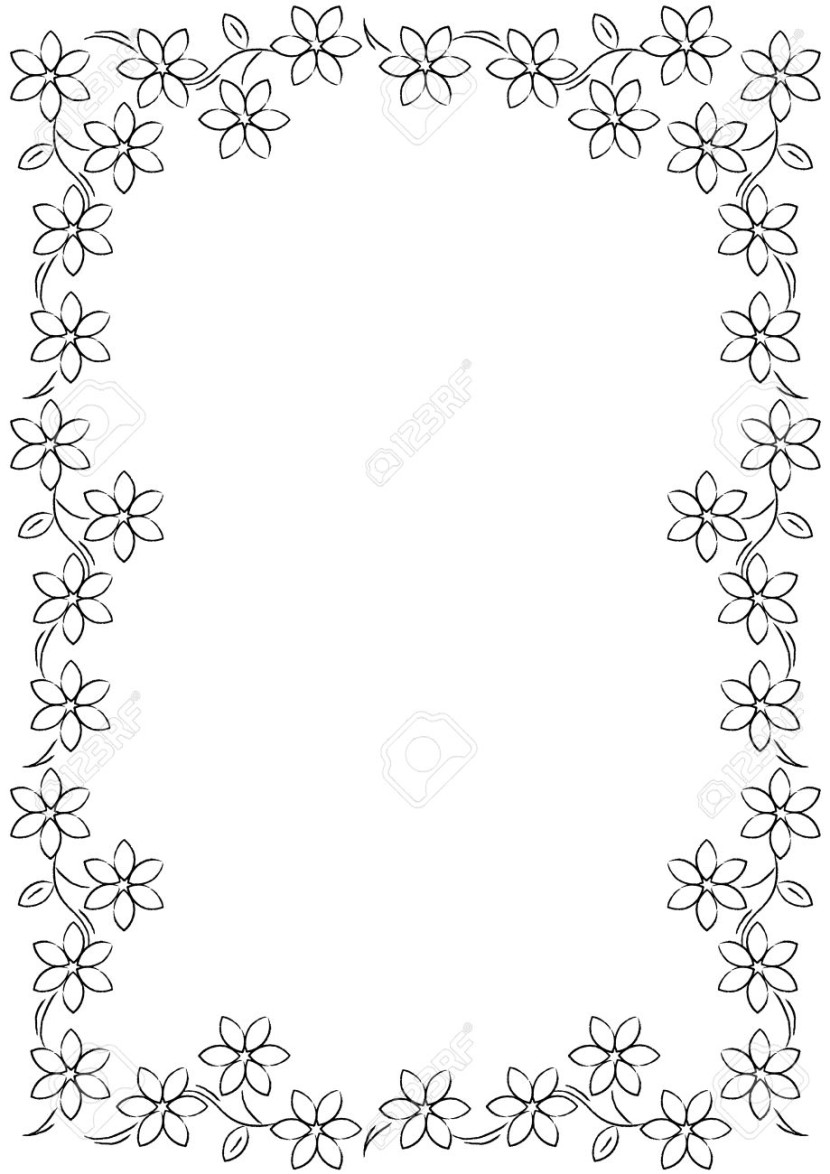 Flower Border Background Black White Stock Photo Picture And