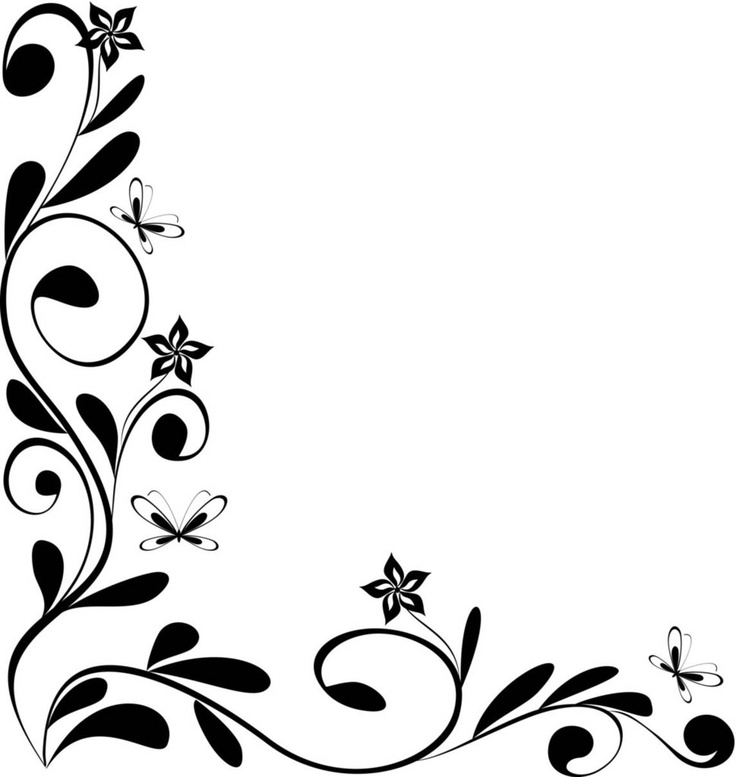 black and white flower border