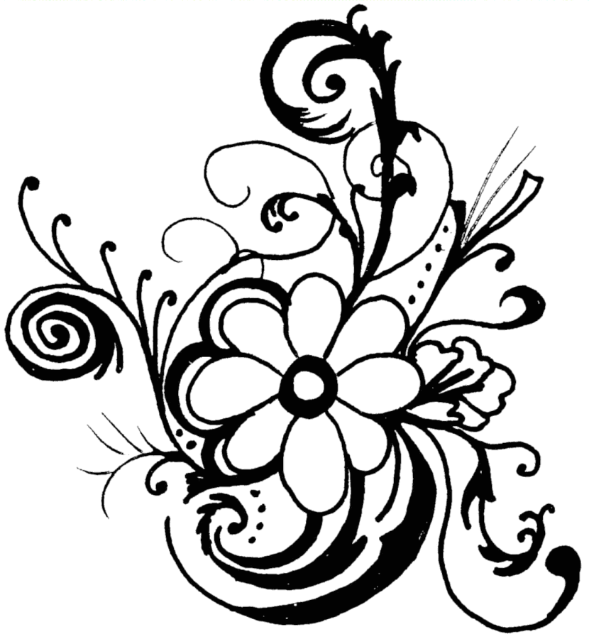 Flower Clipart Black And White Border
