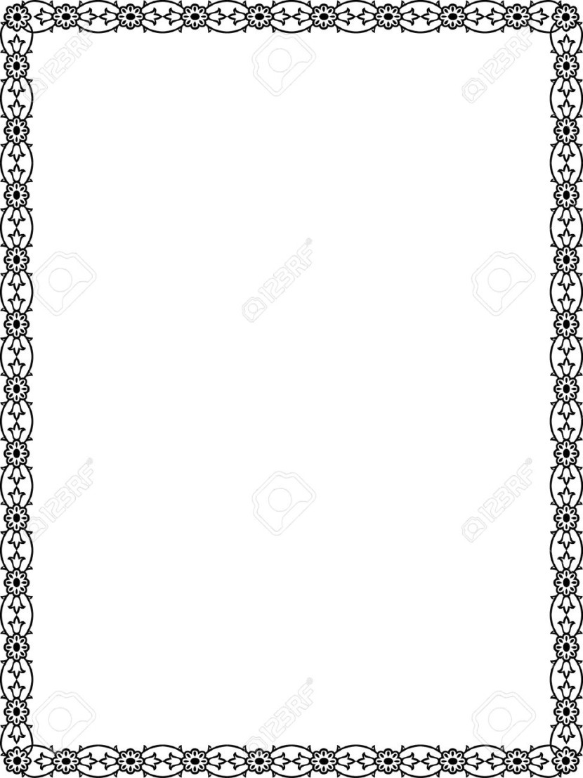 Flowers And Plant Leaves Border Frame Black And White Royalty