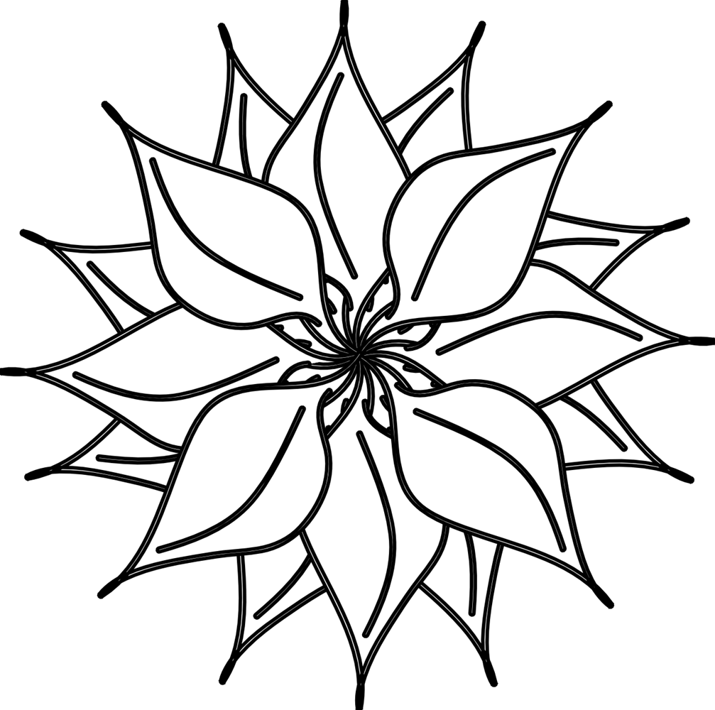Flower Clipart Black And White 13548