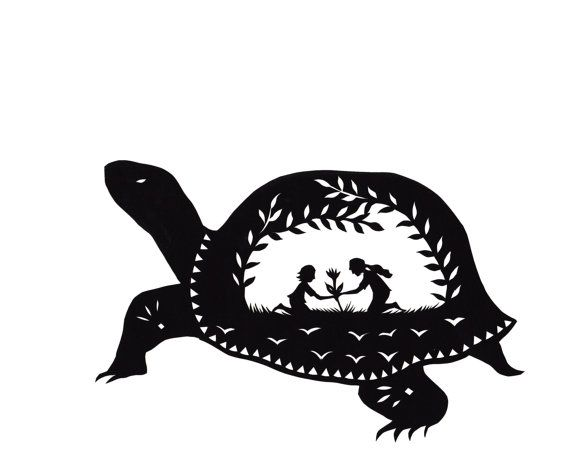 Folk Turtle Silhouette Paper Cutting From Thicketjenny Lee