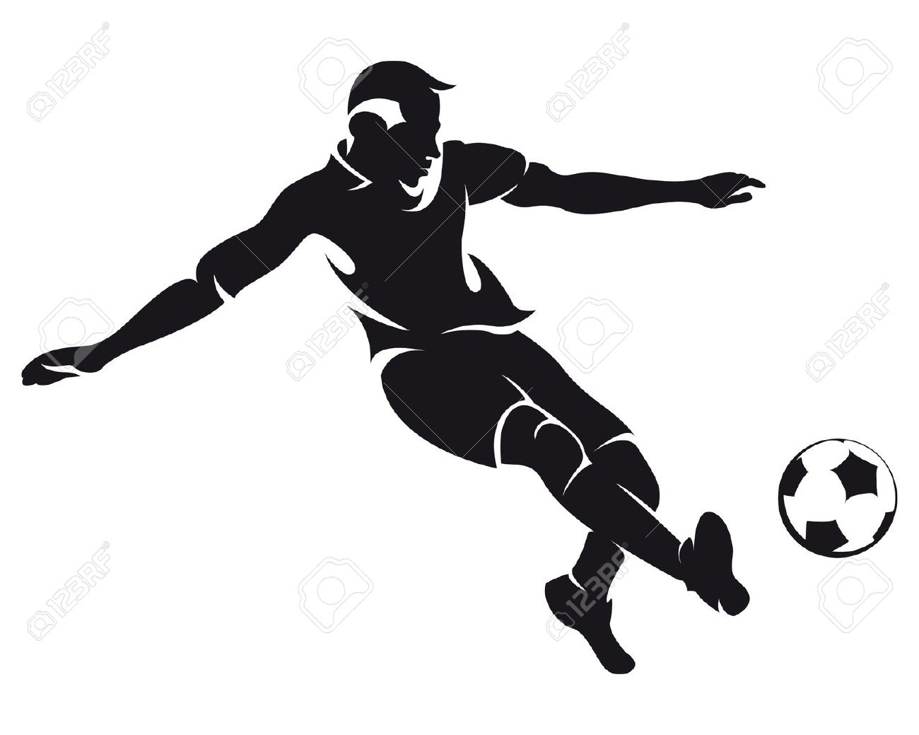 Best Football Player Clipart Black And White 21026
