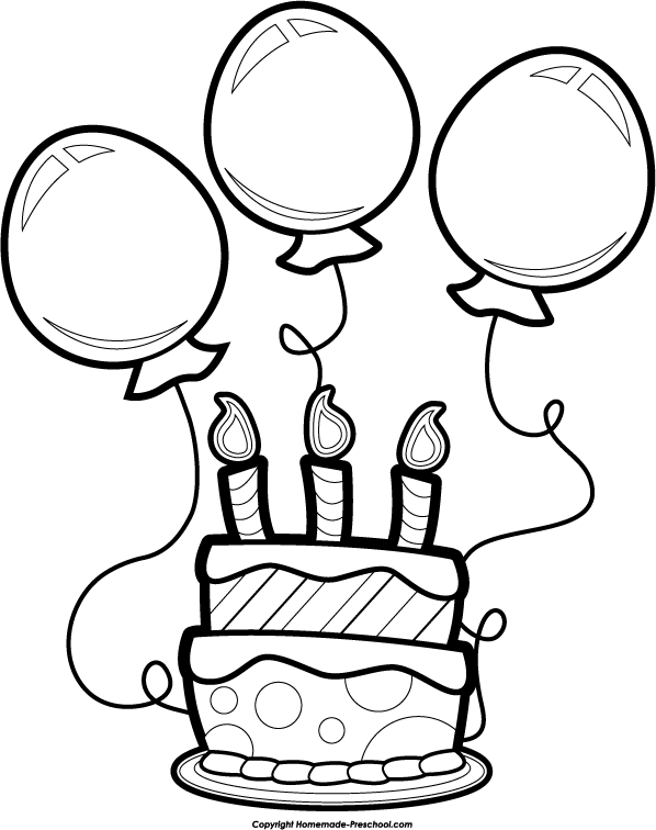 Free Black And White Birthday Clip Art Free