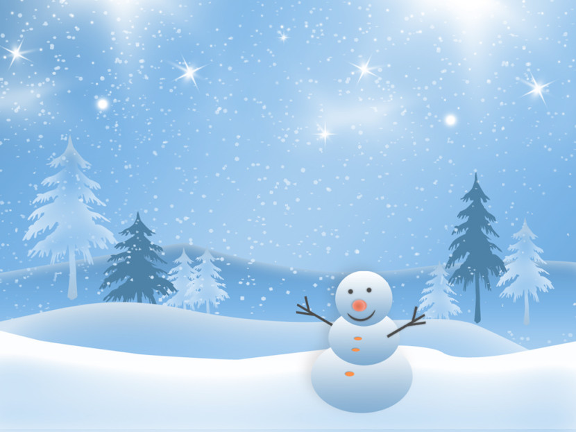 Free Christmas Snowman Smiling In The Snow And Stars Backgrounds