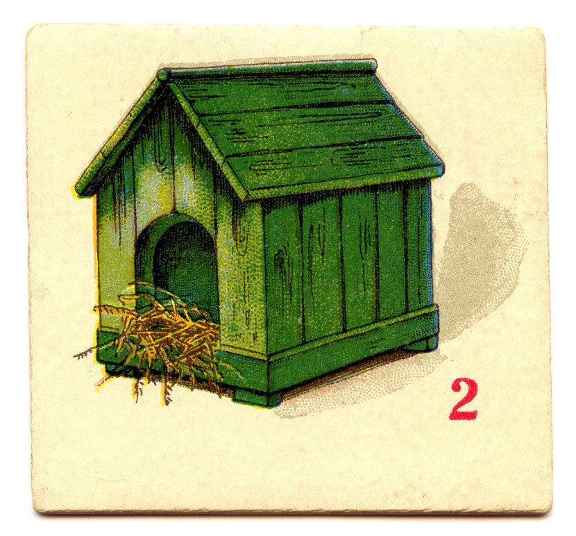 Free Clip Art Vintage Game Cards Dog House Bike Boat The