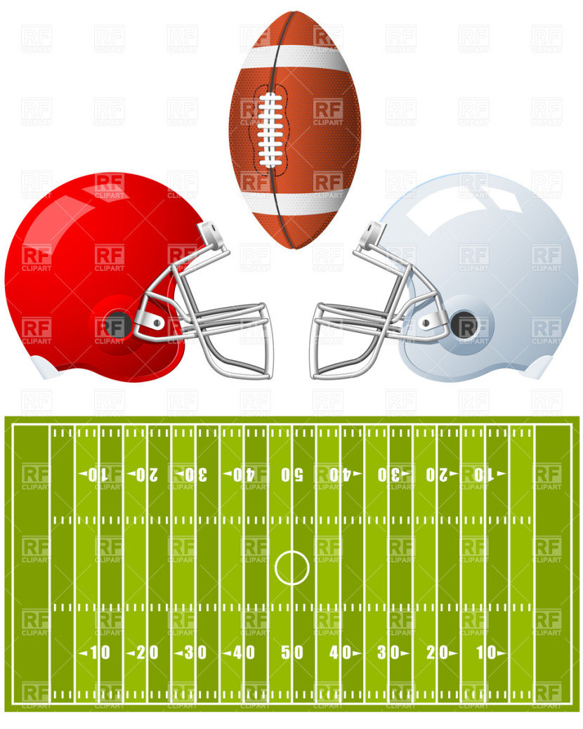 Free Football Clipart Border Two Sport Helmets And Field For
