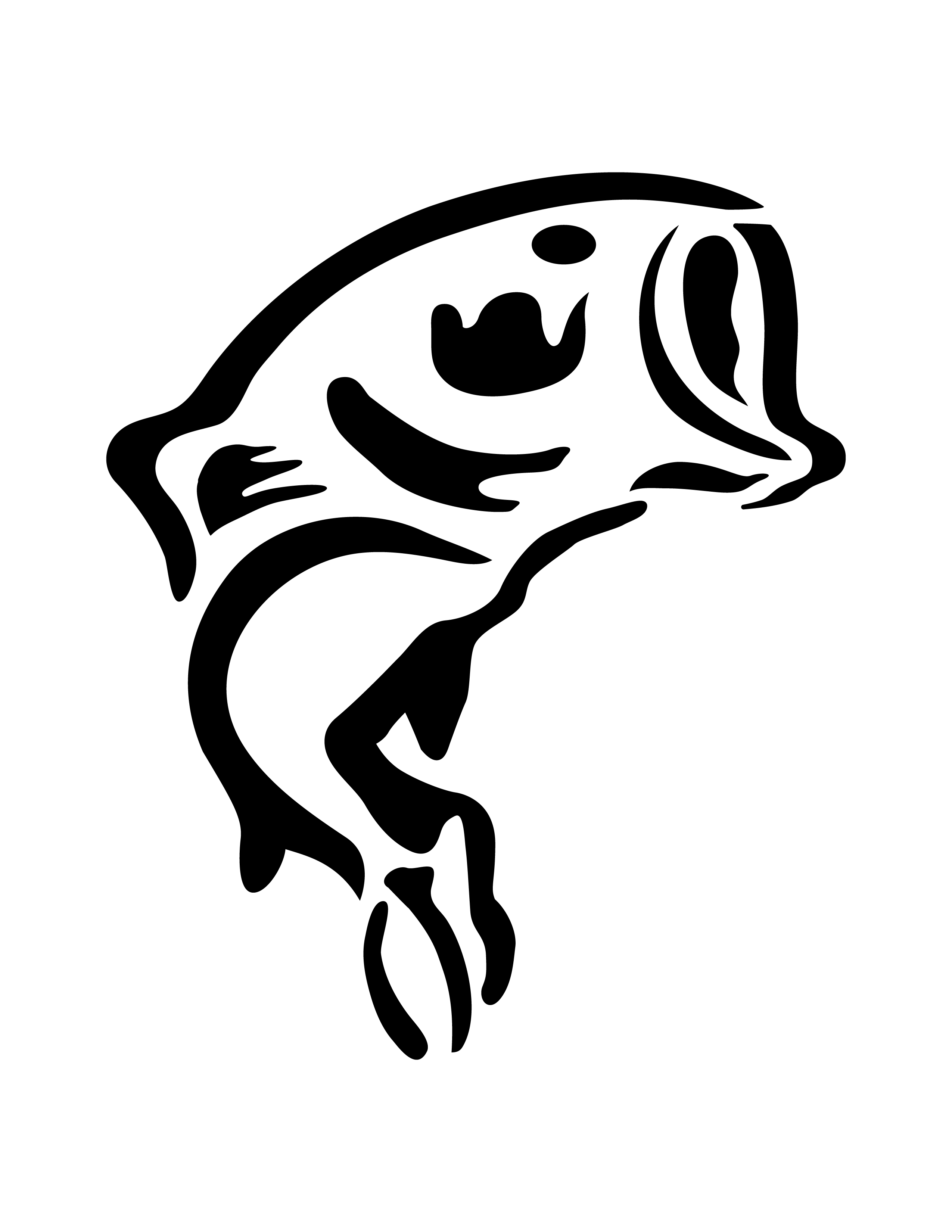 Best bass fish outline clipartion