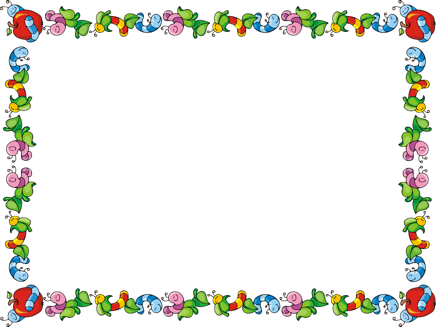 Free Powerpoint Template Apple And Worms Certificate Border