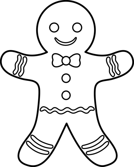 Gingerbread Man Lineart Free Clip Art