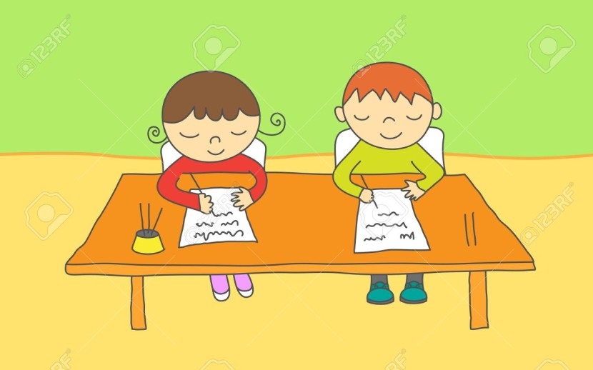 A Boy Writing At a Desk - Royalty Free Clipart Picture