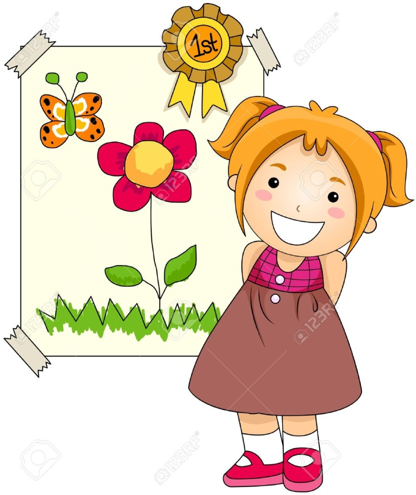 Girl With Award On Her Artwork Stock Photo Picture And Royalty