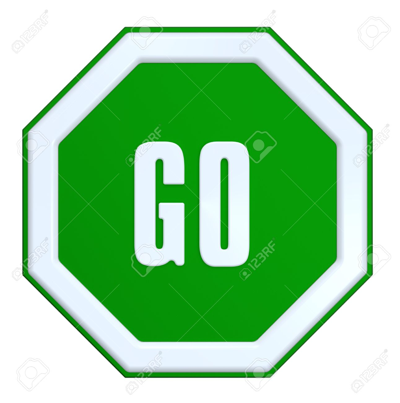 Go Sign Isolated On White Computer Generated 3d Photo Rendering