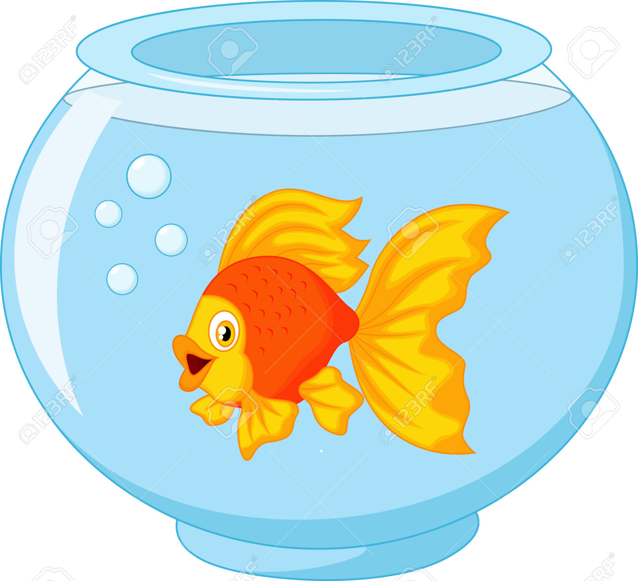 Goldfish Clip Art Black And White Goldfish In A Bowl Cli...