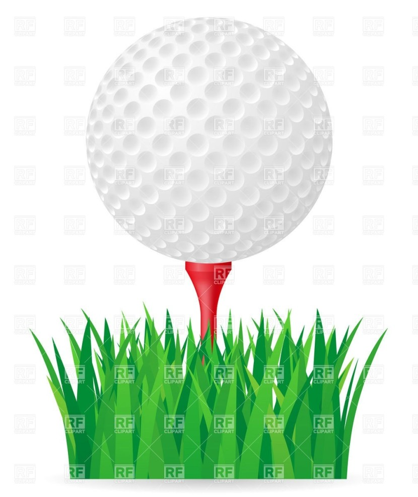 Golf Ball On Tee And Green Grass Download Royalty Free Vector File