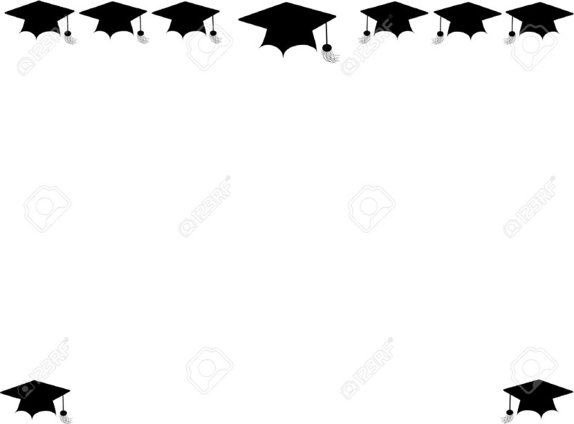 Graduation Mortar Board Border On White Stock Photo Picture And
