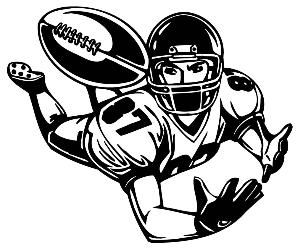 Great Coloring Page Football Player Clip Art Brilliant