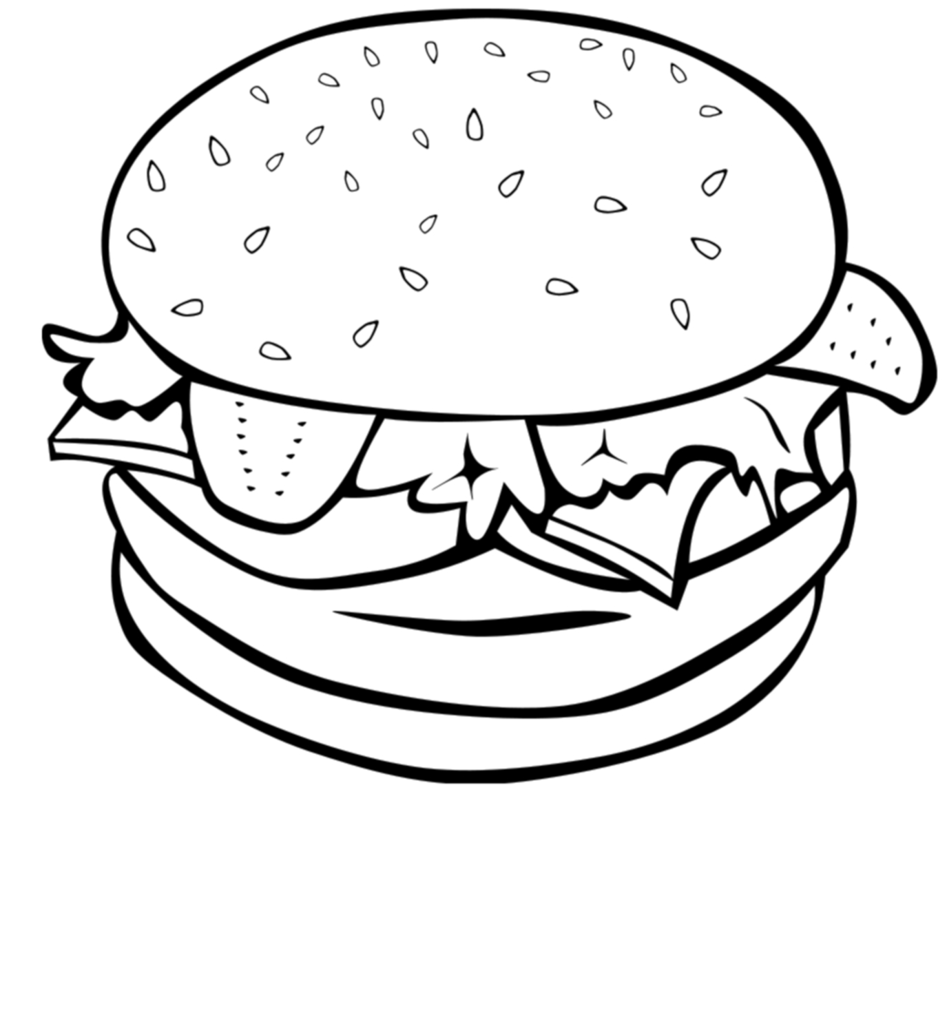 Hamburger Clip Art Black And White Gallery