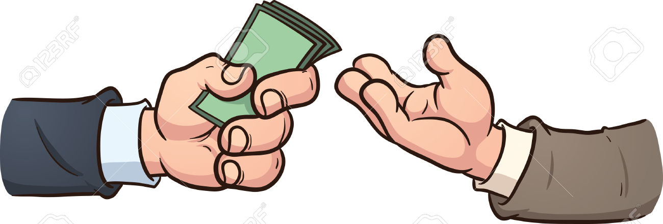 Hand Giving Money Clip Art Illustration With Simple Gradients