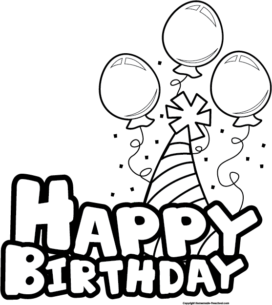 Birthday Clip Art Black And White