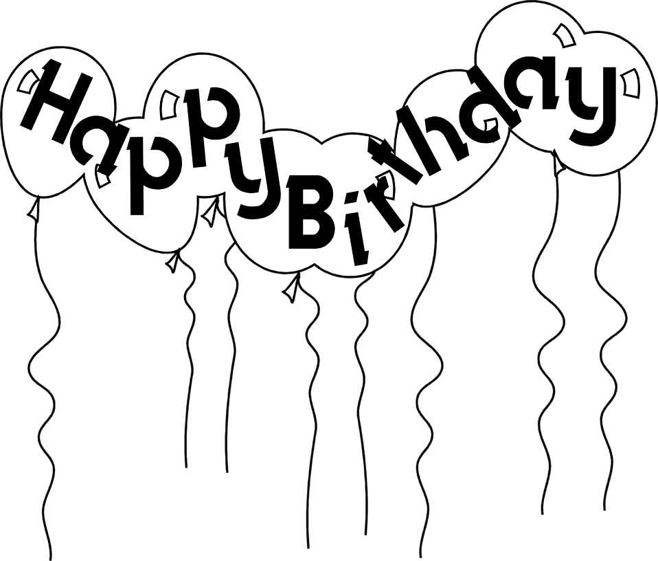 Happy Birthday Balloons Black And White Clipart Free Clip Art Images