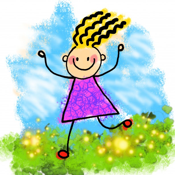 Happy Stick Girl Clip Art Free Stock Photo Public Domain Pictures