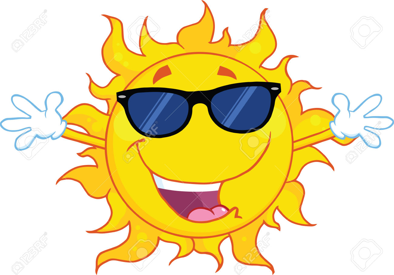 Happy Sun With Sunglasses And Open Arms Royalty Free Cliparts