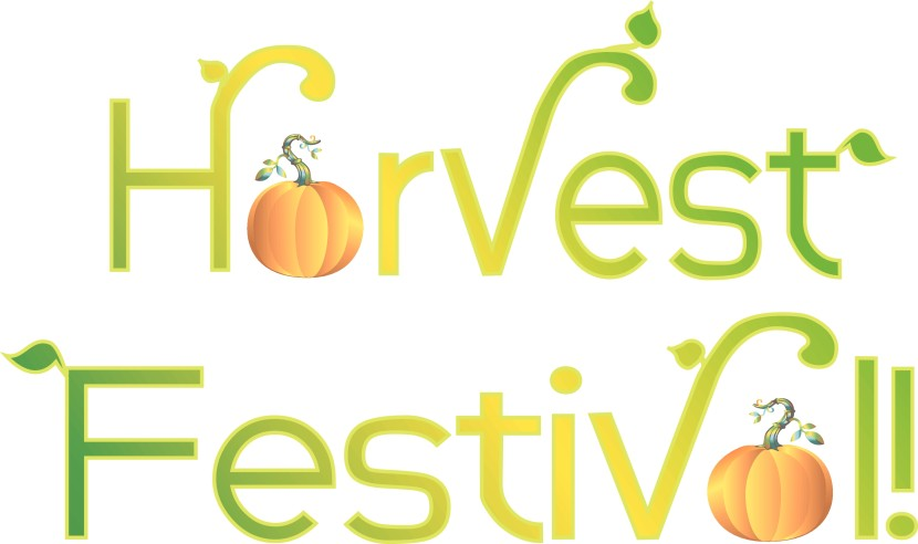 Harvest Festival Typography With Leaves And Pumpkins Clipart