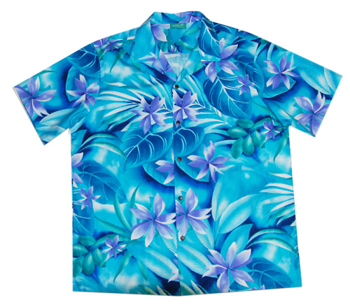 Hawaiian Blue Lily Cotton Aloha Men Shirt Jade Fashion Aloha