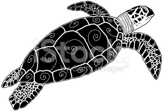 Hawksbill Green Sea Turtle Silhouette Tribal Stock Vector Art