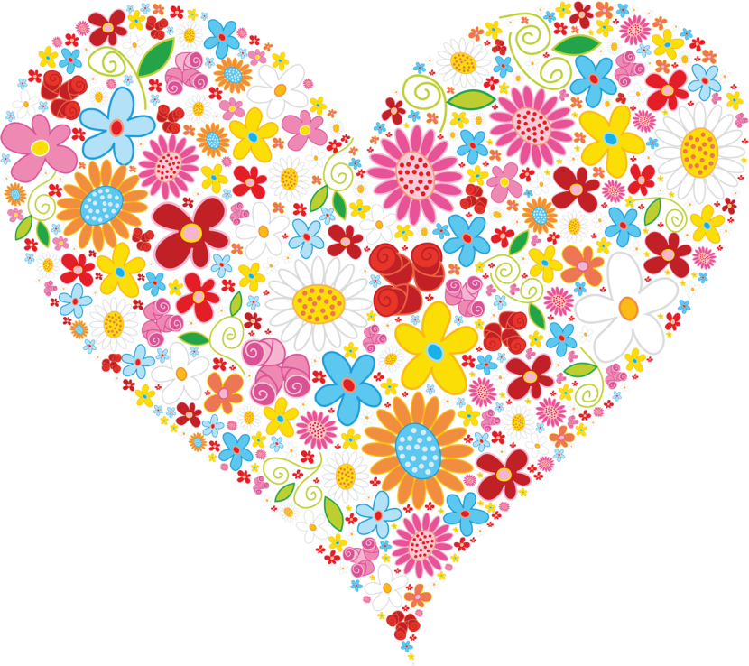 Heart Clipart Beautiful Heart Made Up Of Colorful Flowers Png