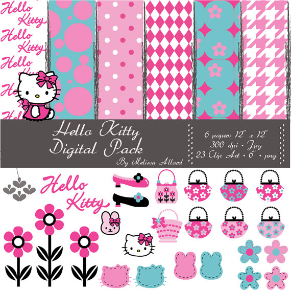 Hello Kitty Papers And Clip Artmystickystickers On Etsy