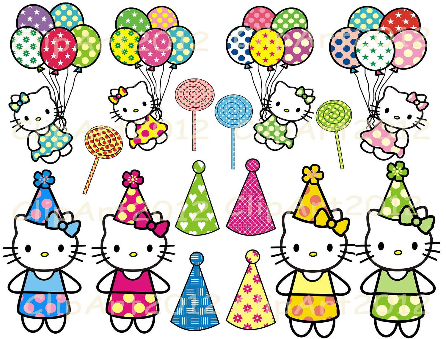 Hello Kitty With Balloons Clipart Free Clip Art Images