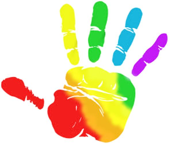 Helping Hands Multicolored Illustration Over A Light Clipart