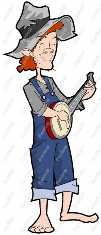 Hillbilly Playing Banjo Character Clip Art Royalty Free Clipart