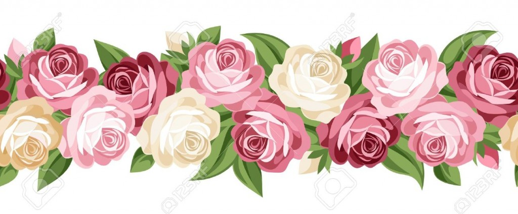 Horizontal Seamless Background With Roses Royalty Free Cliparts