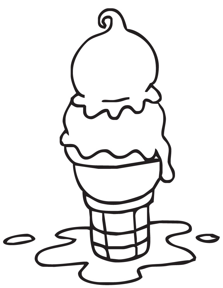 Ice Cream Black And White Clipart