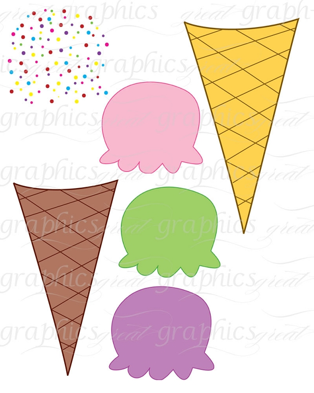 Ice Cream Clip Art Digital Ice Cream Cone Clip Art Printable Clipart