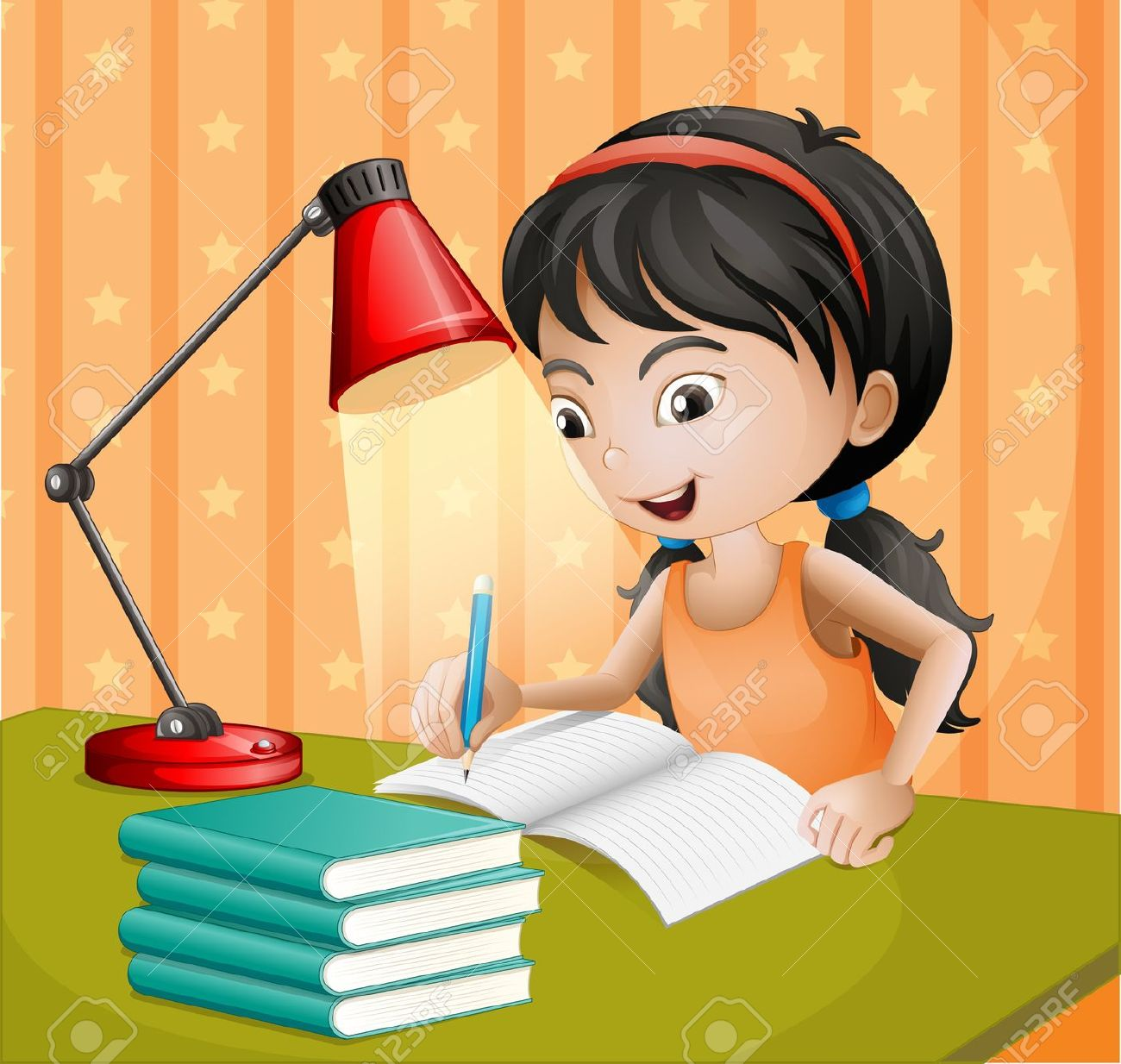 Illustration Of A Girl Writing With A Lampshade Royalty Free