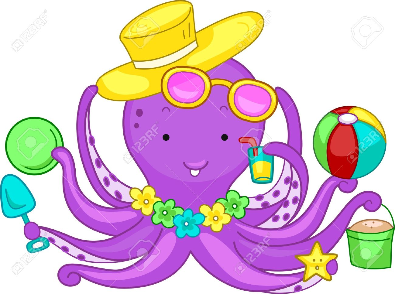 Illustration Of An Octopus Playing In The Beach Stock Photo
