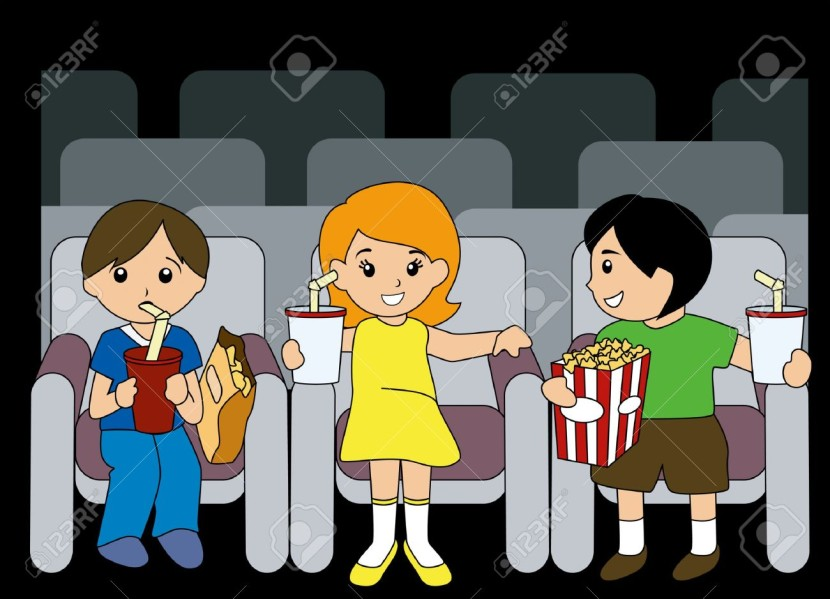 Illustration Of Children Inside Movie House Royalty Free Cliparts