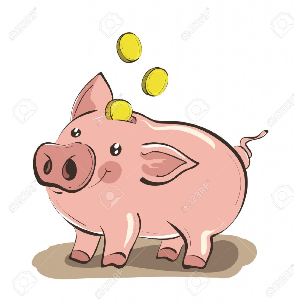 Illustration Of Hand Drawn Piggy Bank With Three Golden Coins