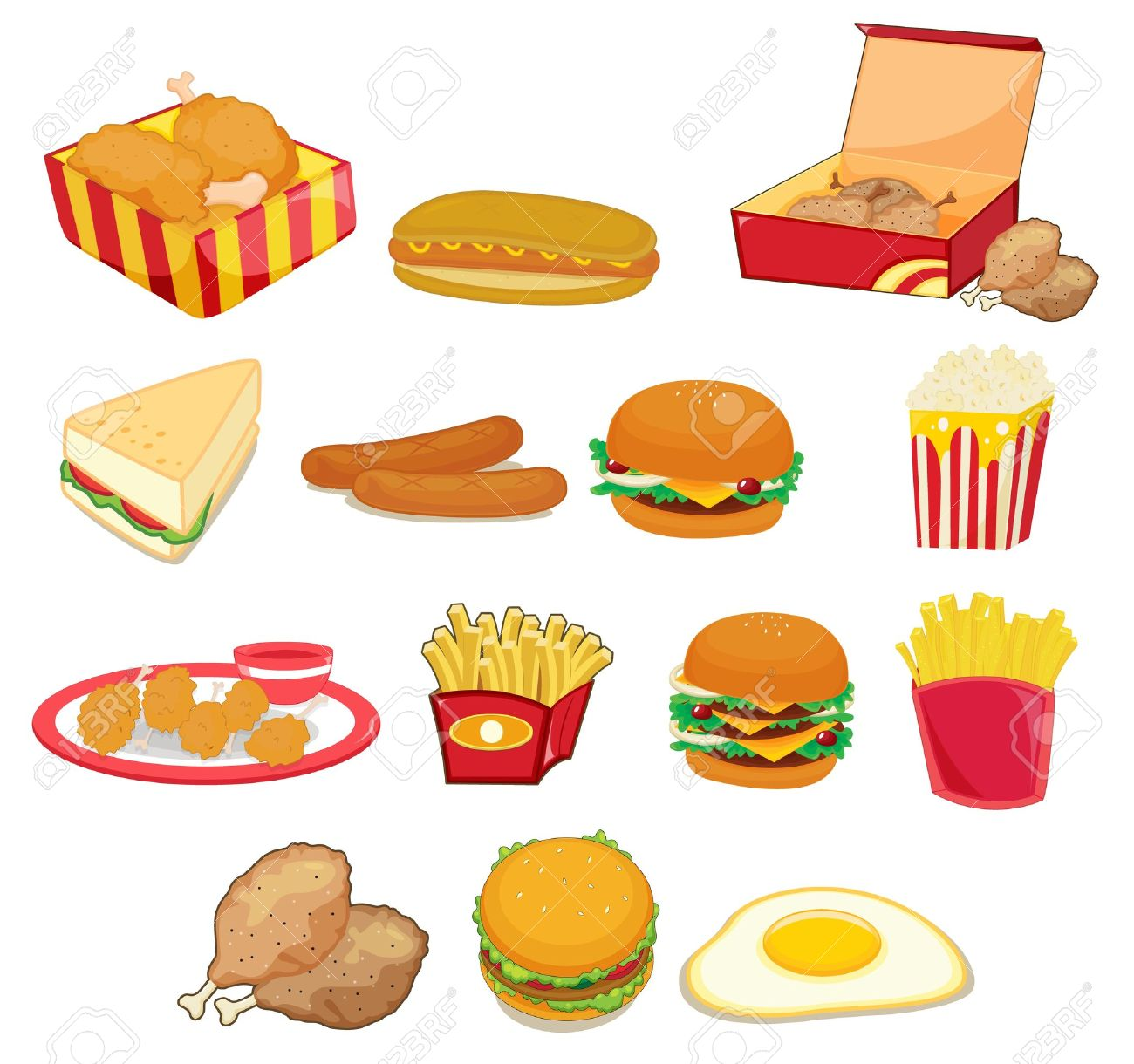 Illustration Of Junk Food On W Royalty Free Cliparts Vectors And: clipartion.com/free-clipart-16413