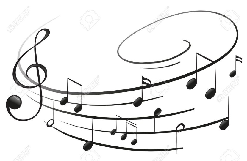 Illustration Of The Musical Notes With The G Clef On A White