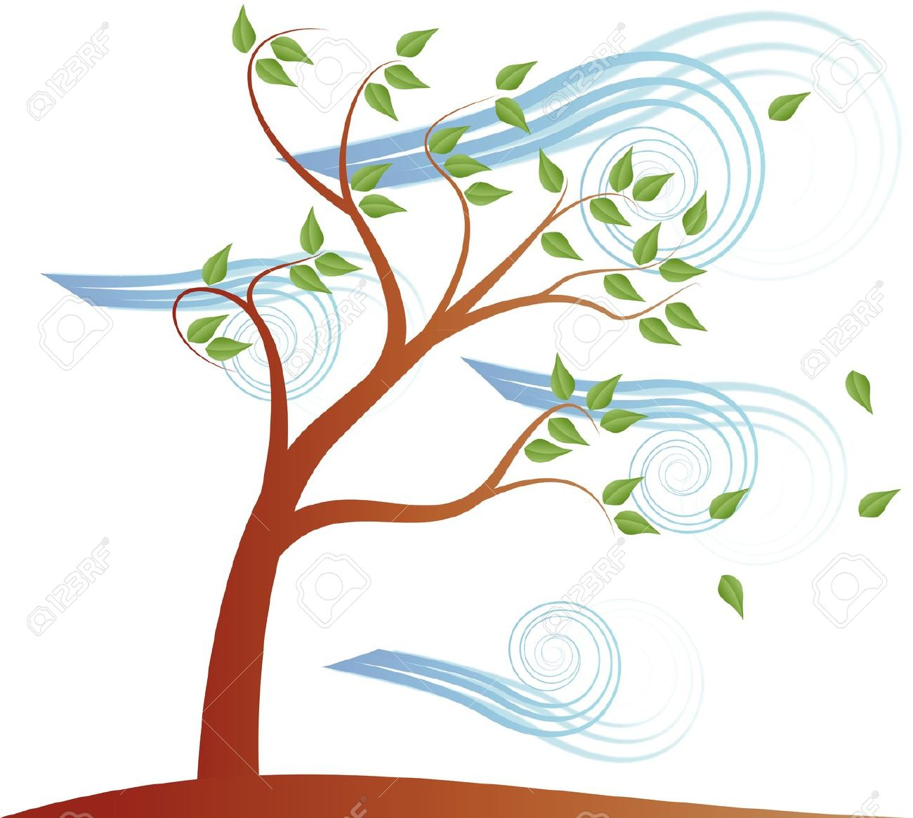 Illustration Of Tree With Cloud And Effect Wind Royalty Free