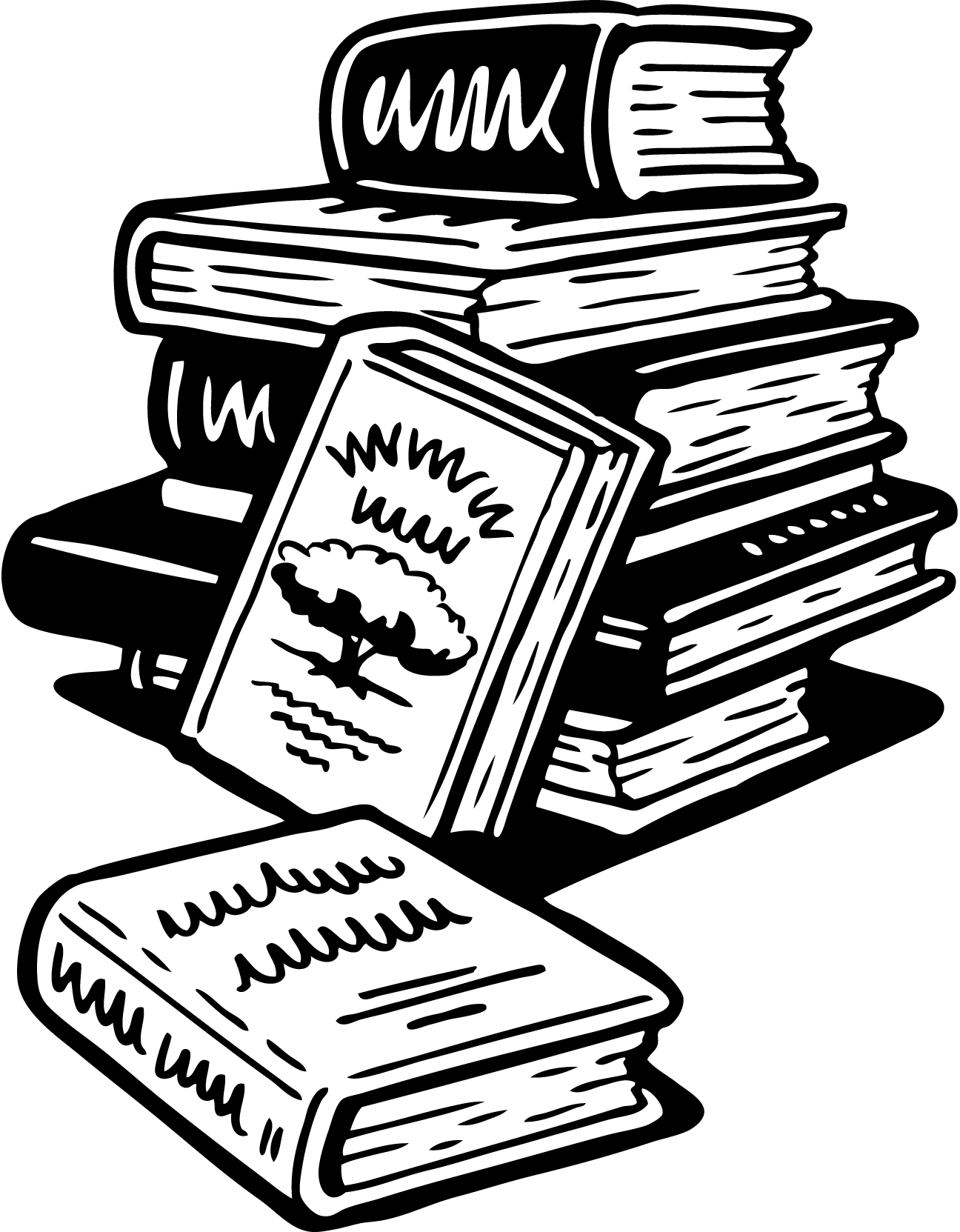 Images For Gt Stack Of Books Cartoon Black And White
