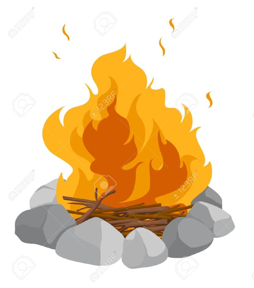 Isolated Campfire On A White Background Royalty Free Cliparts