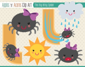 Itsy Bitsy Spider Clip Art Color And Outlinesapples \'n