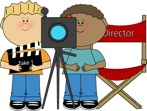 Kids Directing Behind Movie Camera Clip Art Kids Directing