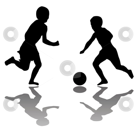 Kids Playing Soccer Black Isolated On White Background Stock Vector